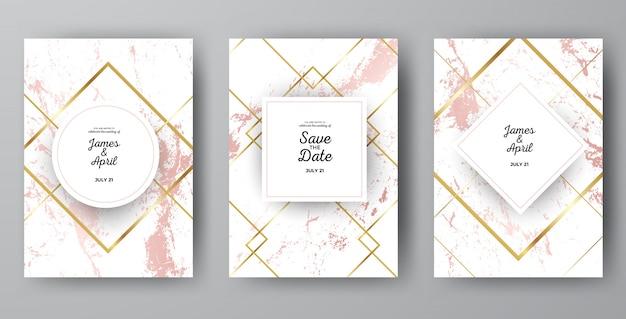 Luxe roze marmeren bruiloft uitnodigingskaart sjablonen Premium Vector