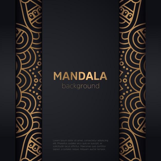 Luxe sier gouden mandala frame Gratis Vector