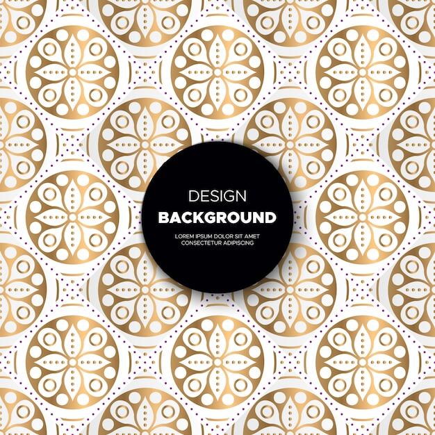 Luxe sier mandala achtergrond in gouden kleur Gratis Vector