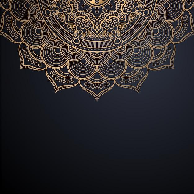 Luxe sier mandala ontwerp achtergrond in gouden kleur vector Gratis Vector