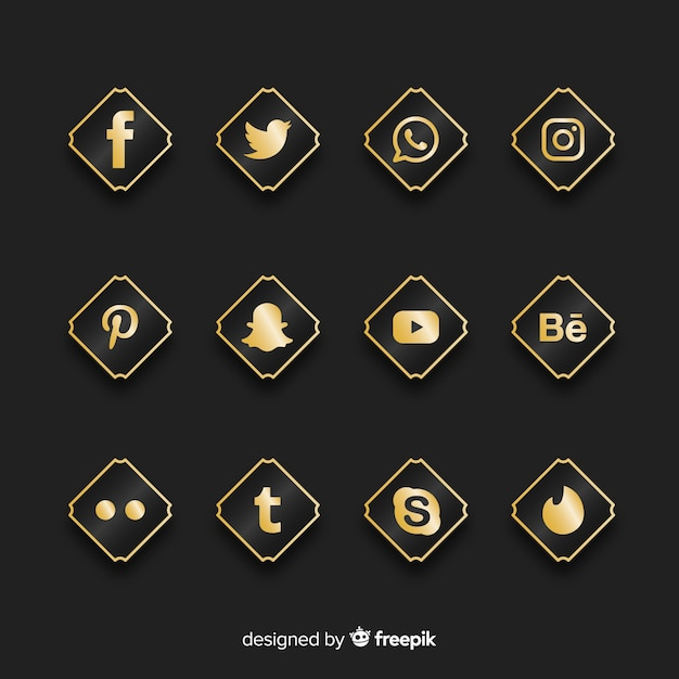 Luxe social media logo-collectie Gratis Vector