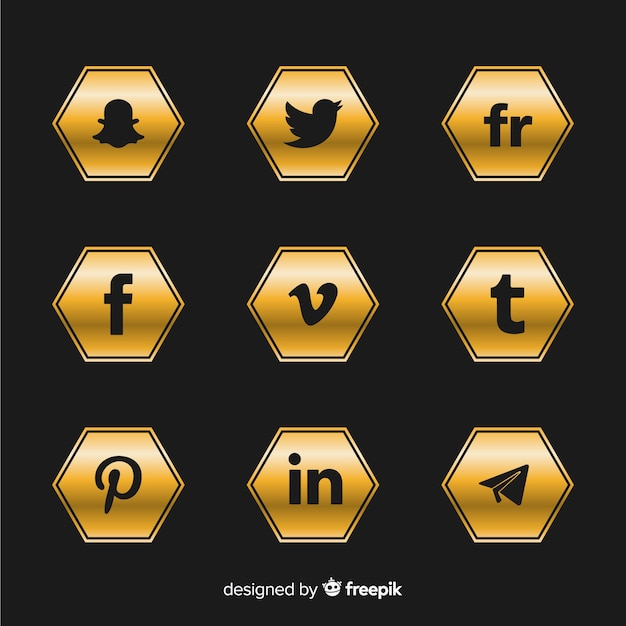 Luxe social media logo-collectie Gratis Vector