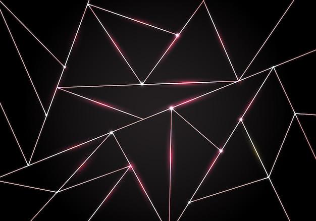 Luxe veelhoekig patroon en roze gouden driehoekenachtergrond Premium Vector
