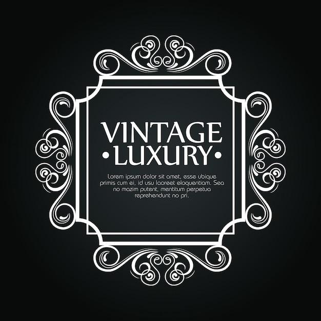 Luxe vierkant frame met ornamentstijl voor wijnetiket, tekstsjabloon Gratis Vector