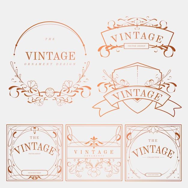 Luxe vintage art nouveau badge vector set Gratis Vector