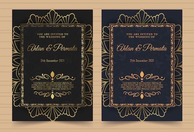 Luxe vintage gouden vector uitnodiging kaartsjabloon Premium Vector