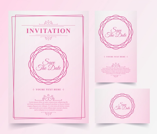 Luxe vintage roze uitnodigingskaart Premium Vector