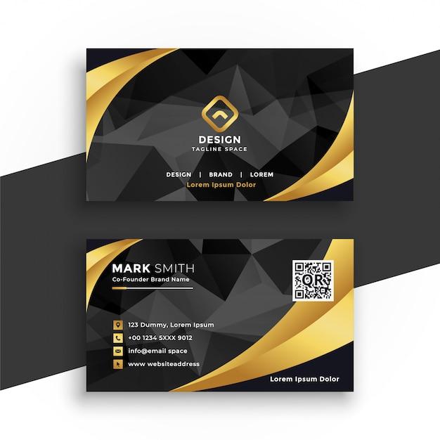 Luxe visitekaartje in zwarte en gouden kleuren Gratis Vector