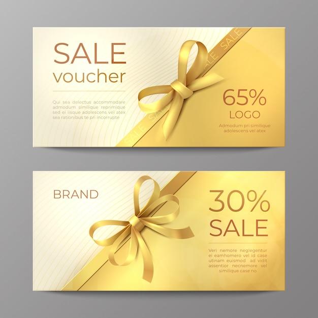 Luxe voucher kaart. gouden lintcertificaat, elegante feestcoupon, flyer voor kortingspromotie. realistisch Premium Vector