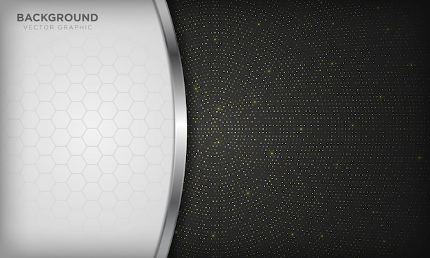 Luxe witte en zwarte overlappende achtergrond met realistische zilveren lijn en zeshoek op glanzende gouden radiale halftoon. Premium Vector