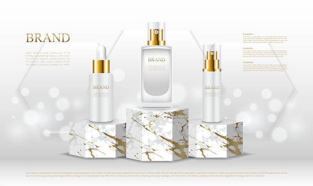 Luxe zeshoekige standaards voor parfumflesjes Premium Vector