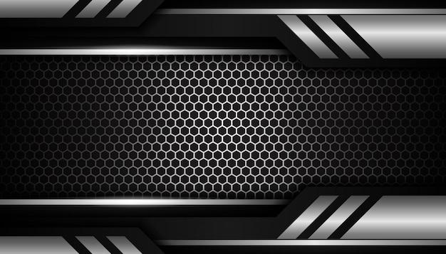 Luxe zilveren zeshoek sport achtergrond Premium Vector