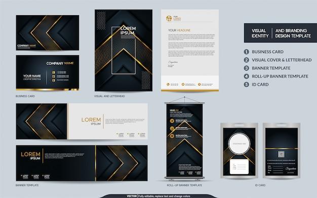 Luxe zwart goud briefpapier set en visuele merkidentiteit met abstracte overlappende lagen achtergrond Premium Vector