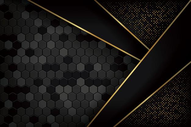 Luxe zwarte achtergrond met 3d-stijl. Premium Vector