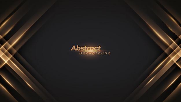 Luxe zwarte achtergrond met glanzende gouden lijnen. Premium Vector