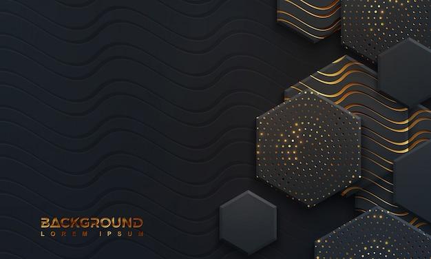 Luxe zwarte achtergrond met golvende lijnen Premium Vector