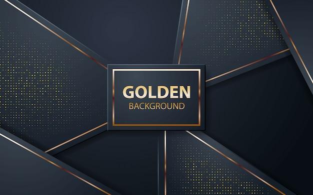 Luxe zwarte achtergrond met gouden glitters Premium Vector