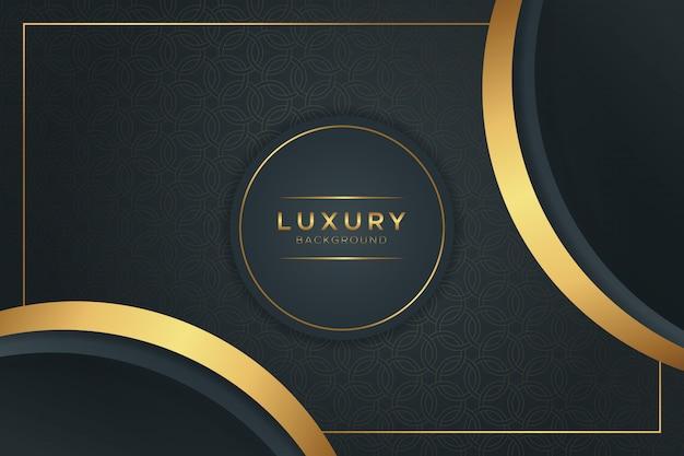 Luxe zwarte en gouden achtergrond Premium Vector