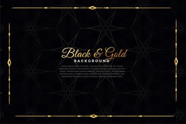 Luxe zwarte en gouden sierachtergrond Gratis Vector