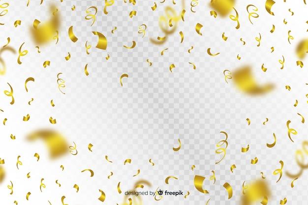 Luxeachtergrond met gouden confettien die vallen Gratis Vector