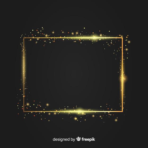 Luxeachtergrond met gouden fonkelend kader Gratis Vector