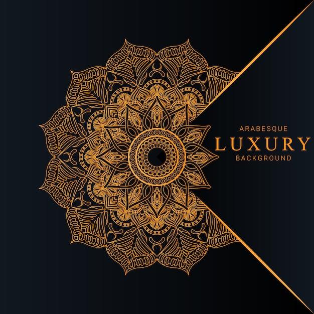 Luxemandala met gouden arabesque-de premievector van de patroon arabische islamitische stijl Premium Vector