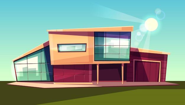 Luxevilla buitenkant, modern chalet met garage, huis met glazen gevel Gratis Vector