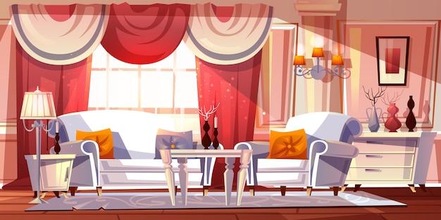 Luxueuze binnenillustratie van de zitkamerruimte of klassieke imperiumstijlflats. Gratis Vector