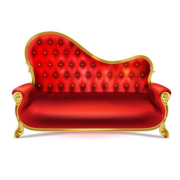Donkerrode Leren Bank.Luxueuze Rood Lederen Fluwelen Of Zijden Bank Met Gouden