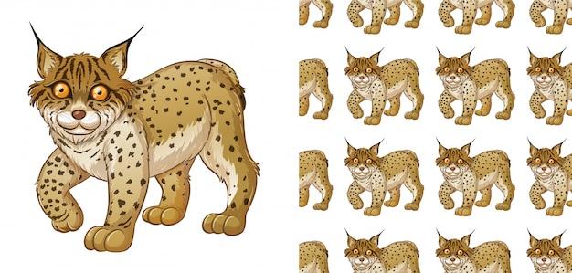 Lynx dierlijk patroon cartoon Gratis Vector