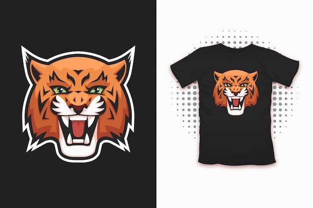 Lynx-print voor t-shirt Premium Vector