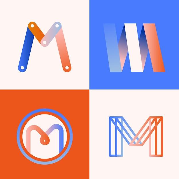 M logo collectie concept Gratis Vector