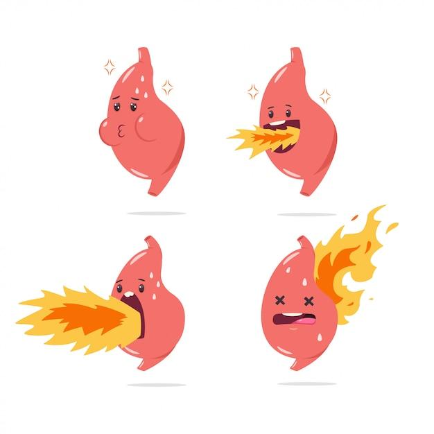 Maag maagzuur vector stripfiguur met grappige interne orgel met vuur. illustratie set geïsoleerd Premium Vector