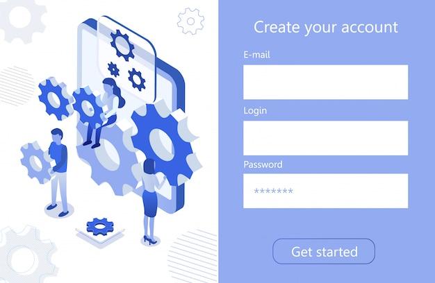 Maak een account voor teamwork digitaal isometrisch pictogram Premium Vector