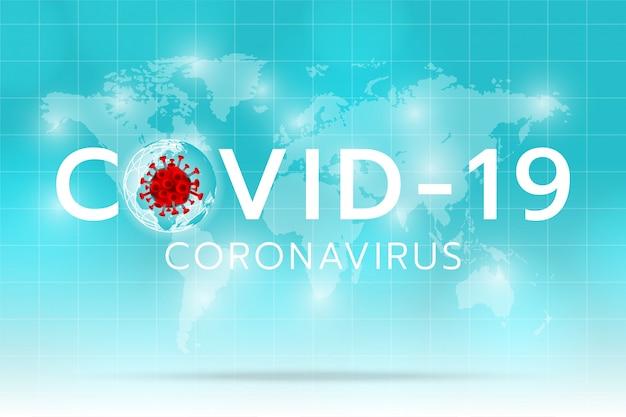 Maak een coronavirus-afbeelding op de aarde en de cyaanachtergrond Premium Vector