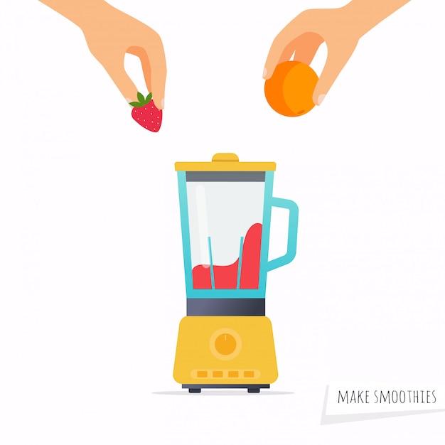 Maak een smoothie. hand met fruit. Premium Vector