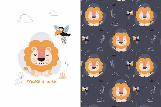 Maak een wens leeuw patroon Premium Vector