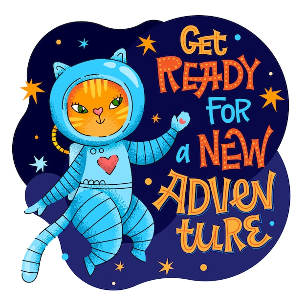 Maak je klaar voor een nieuwe zin voor avontuur belettering. hand getekend baby ruimtethema citaat. Premium Vector