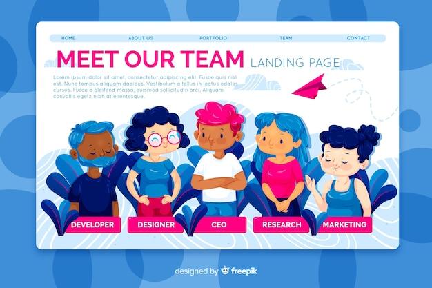 Maak kennis met ons teamconcept voor de bestemmingspagina Gratis Vector