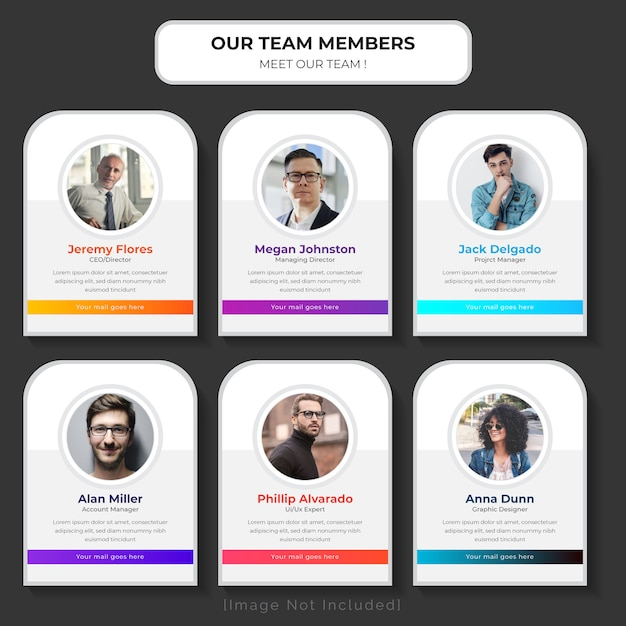 Maak kennis met onze websjabloon voor teams Premium Vector
