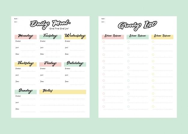 Maaltijdmenu-planner en boodschappenlijst met checklist voor printsjabloon in pastelkleur Premium Vector