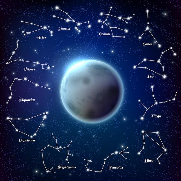 Maan en dierenriem sterrenbeelden realistische afbeelding Gratis Vector