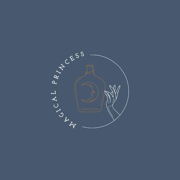 Maan en hand magisch logo Premium Vector