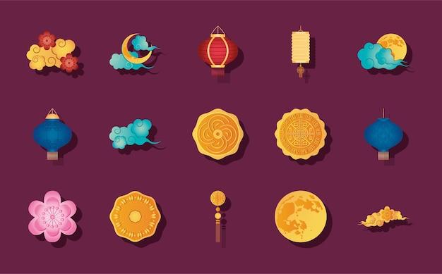 Maan en medio herfst pictogrammenset op paarse achtergrond, gedetailleerde stijl Premium Vector
