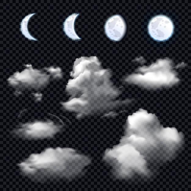 Maan en wolken op transparant Gratis Vector