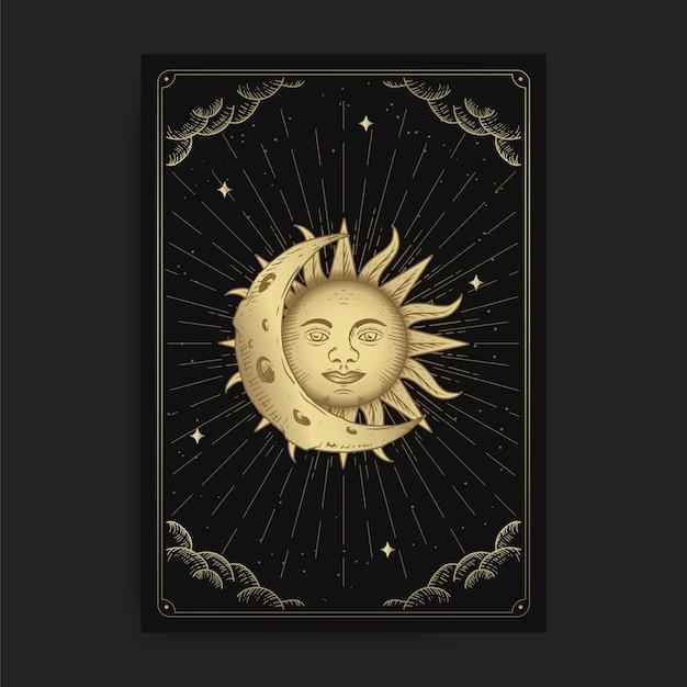Maan en zon. magische occulte tarotkaarten, esoterische boho spirituele tarotlezer, magische kaart astrologie, spirituele tekening. Premium Vector