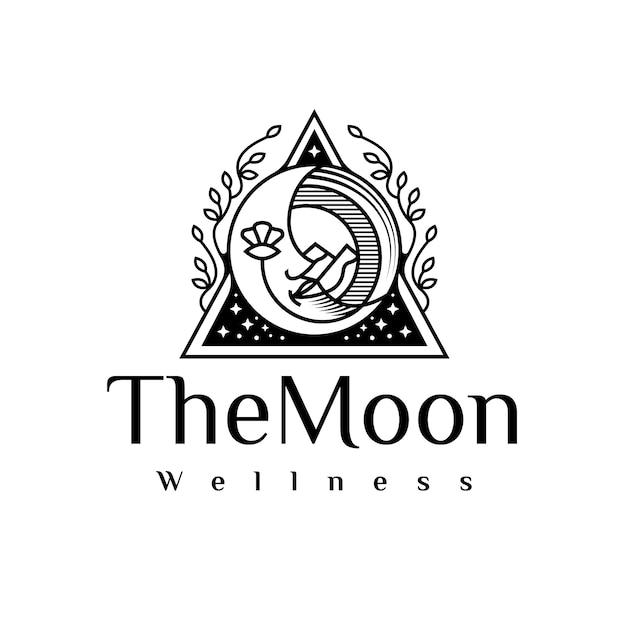 Maan gezicht schoonheid zwart logo Premium Vector