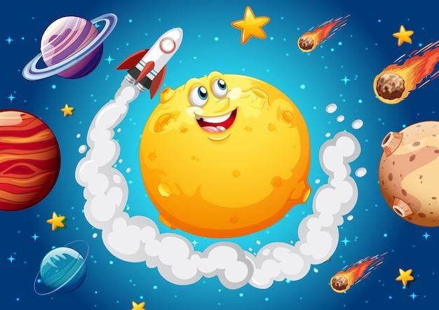 Maan met blij gezicht op de achtergrond van het ruimtemelkwegthema Gratis Vector