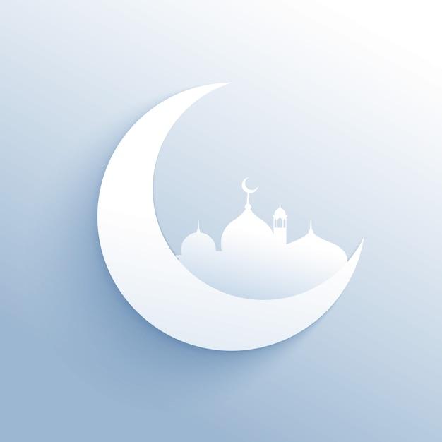 Maan met moskee silhouet schone achtergrond voor islamitisch festival Gratis Vector
