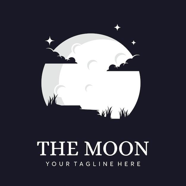 Maan silhouet met wolken logo Premium Vector